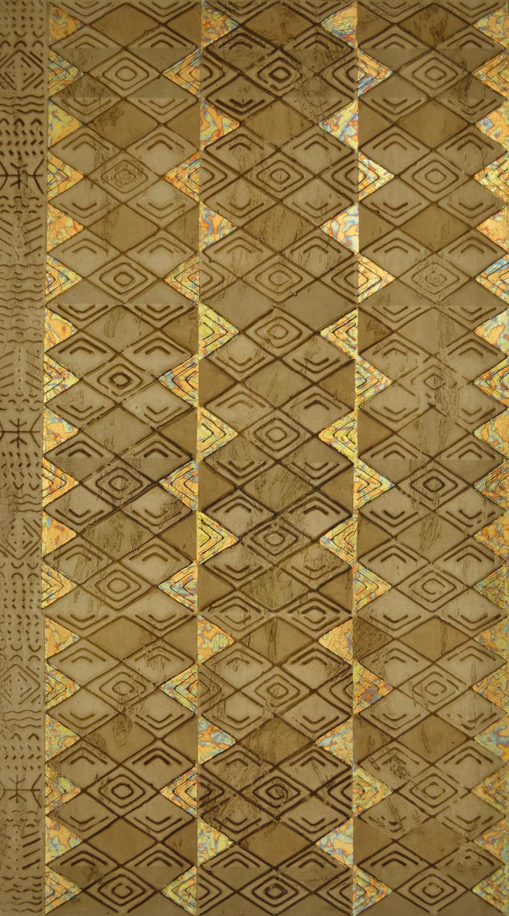 """Tribal Tri # 2 20"""" W x 36"""" H x 2"""" D Acrylic, oil & gold leaf on archival board"""