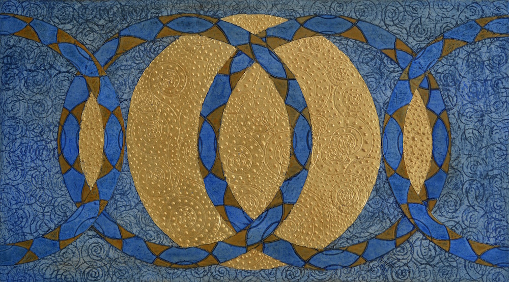 "Unity in Diversity a Prayer   36"" W x 20"" H x 2"" D   Acrylic, oil & 23K gold leaf on archival board"