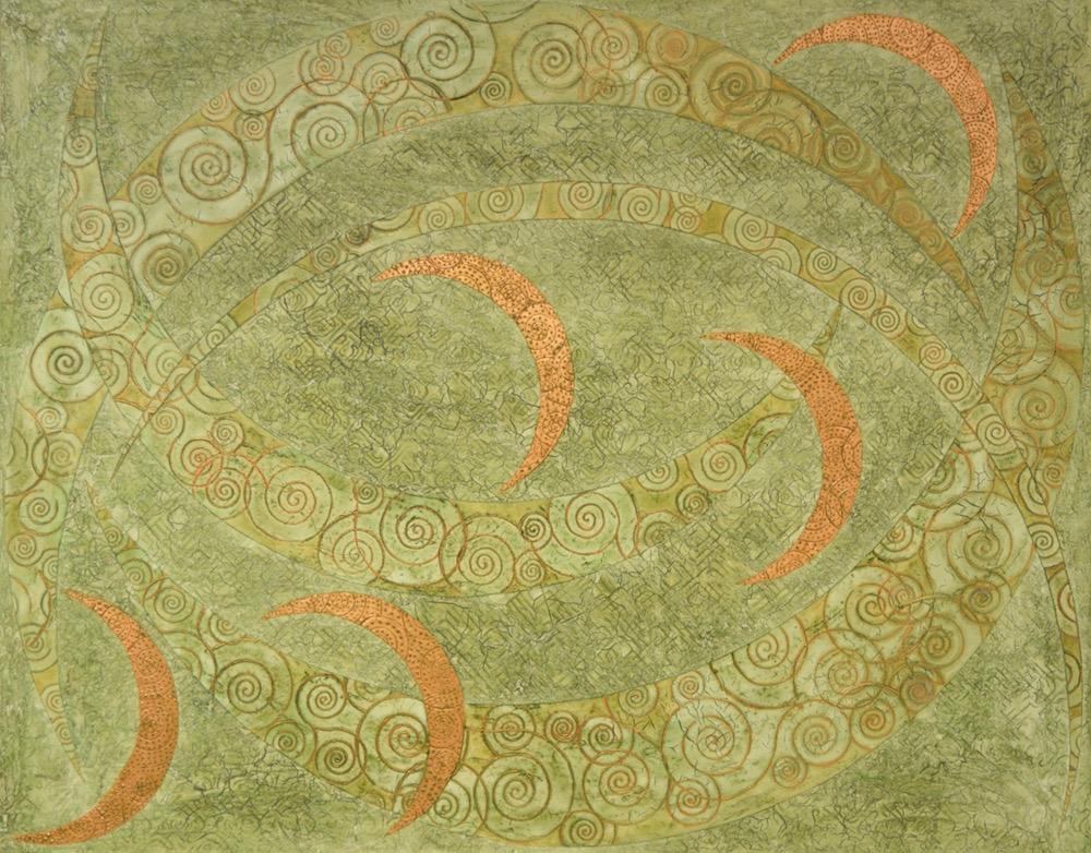 "Koa Hāpu'u Ulu lā 'au (forest) 56"" x 44"" x 2"" Acrylic, oil & copper leaf on archival board"