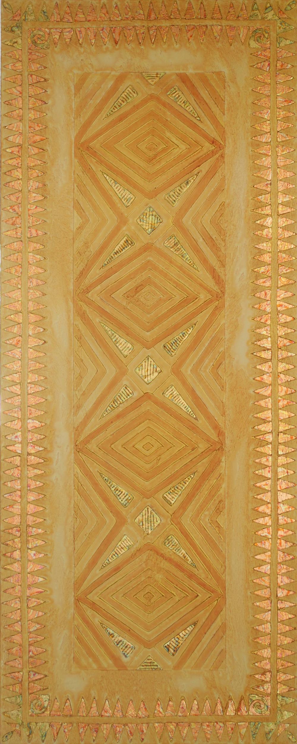 "Manawale'a Hoku (Generous Heart Star) 24"" x 60"" x 2"" Acrylic, oil & gold leaf on archival board"