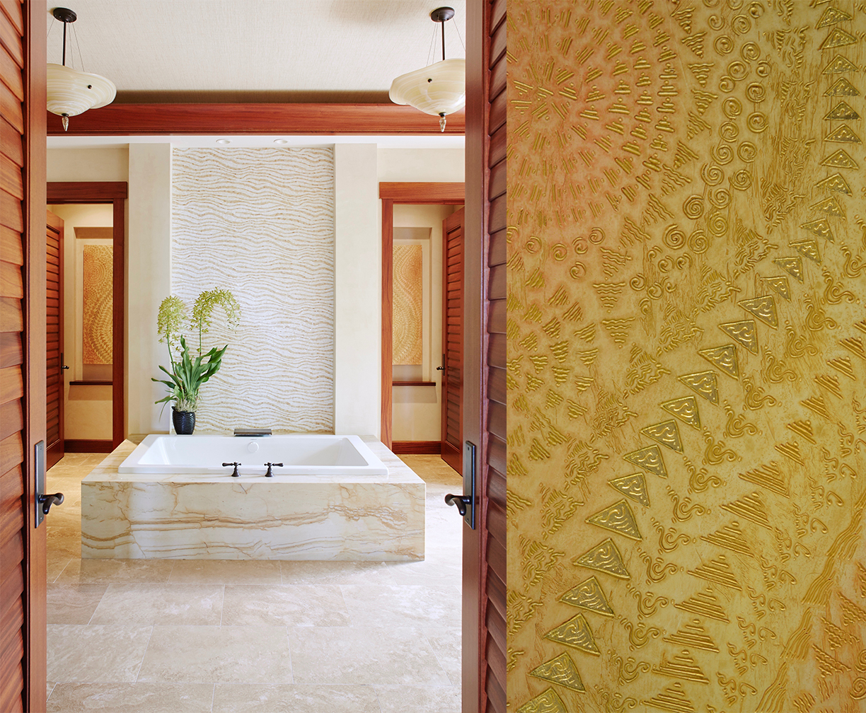 Residence at The Four Seasons Hualalai - En Suite Bathroom - Blessings of a Golden Rose 1 & 2 - see process page in the painting page dropdown for more details.
