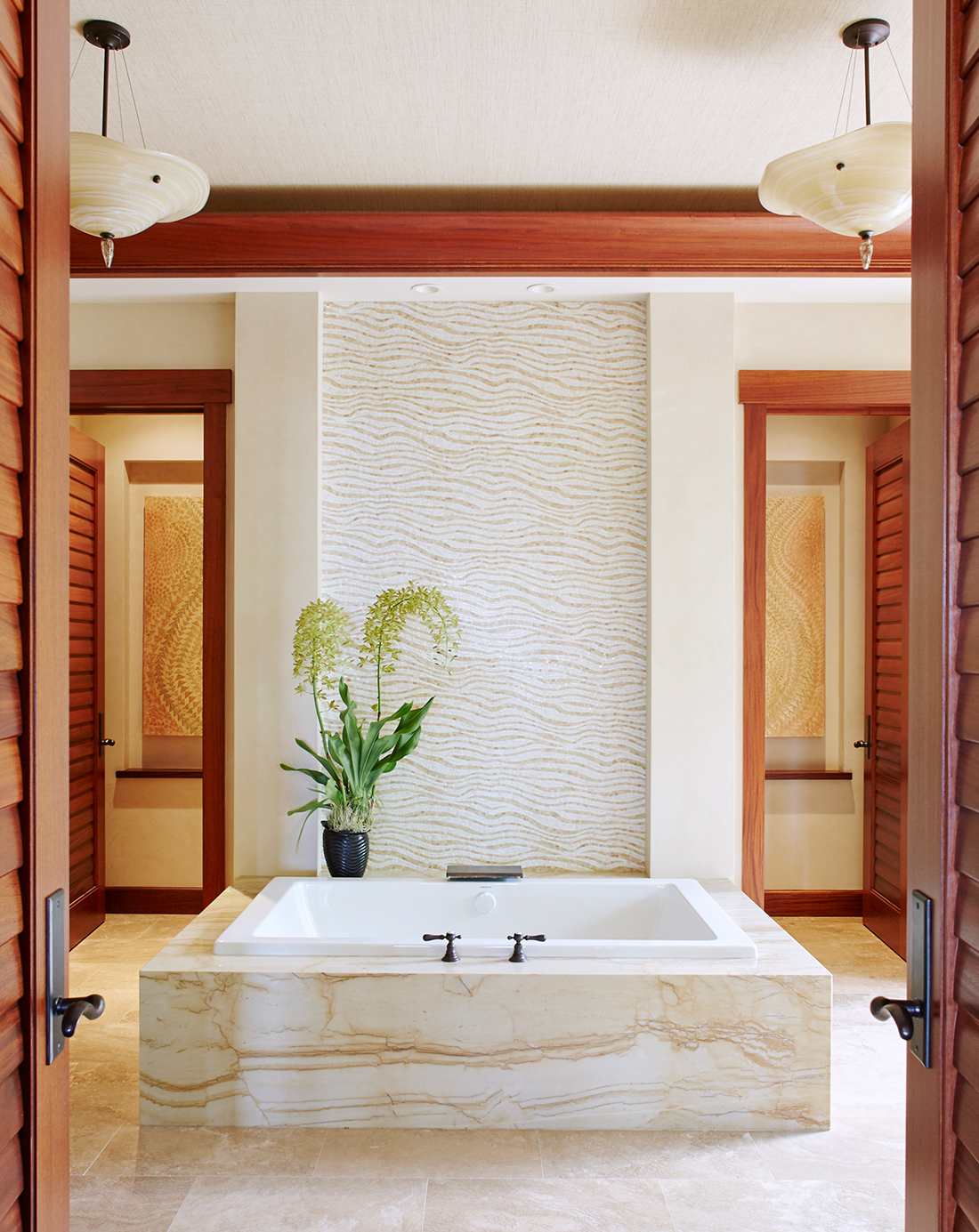 Residence at The Four Seasons Hualalai - En Suite Bathroom - Blessings of a Golden Rose 1 & 2 - see process page in the painting page dropdown for more details