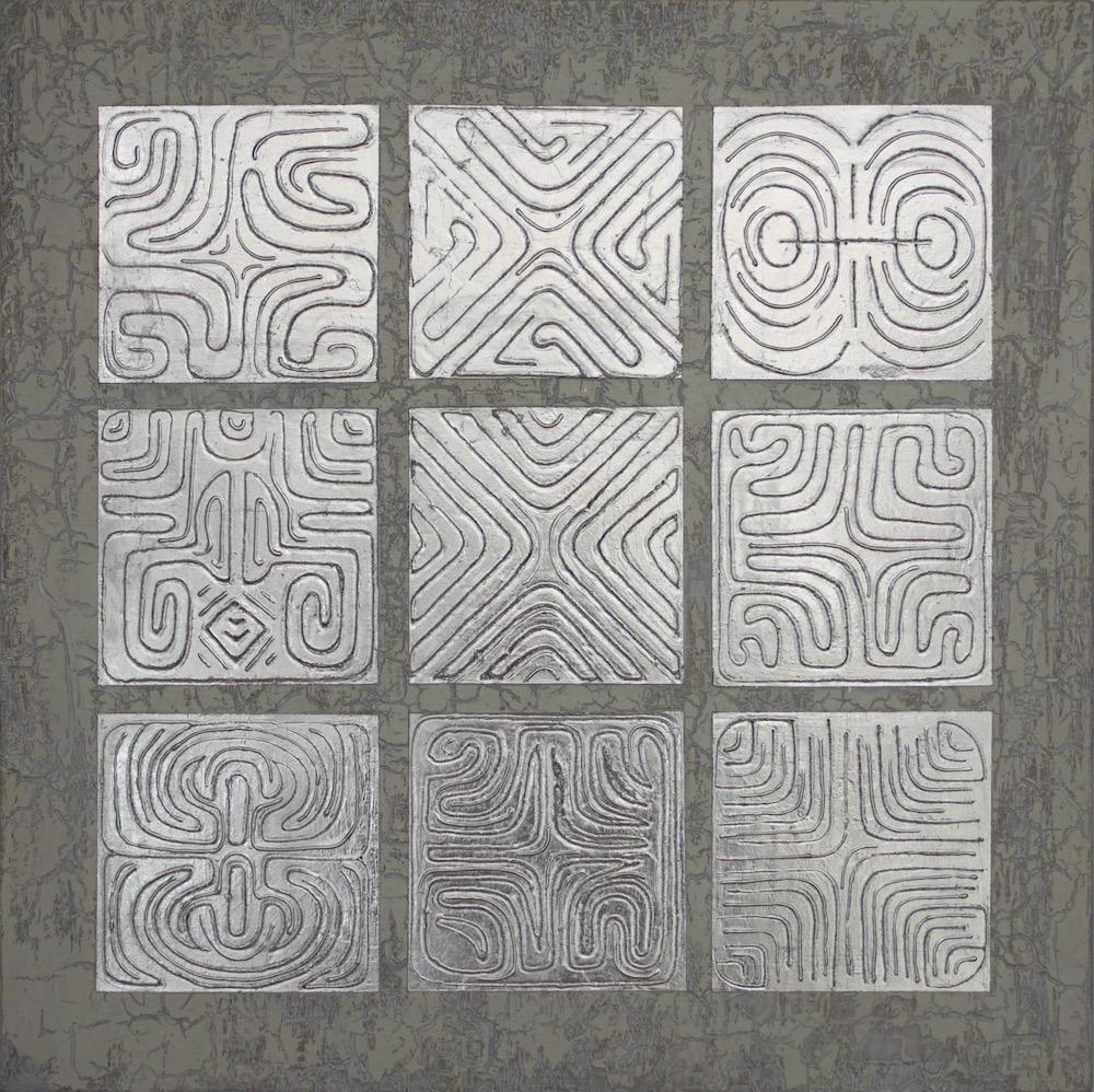 "Silver Linings 24"" x 24"" x 2"" Acrylic, oil & silver leaf on archival board"
