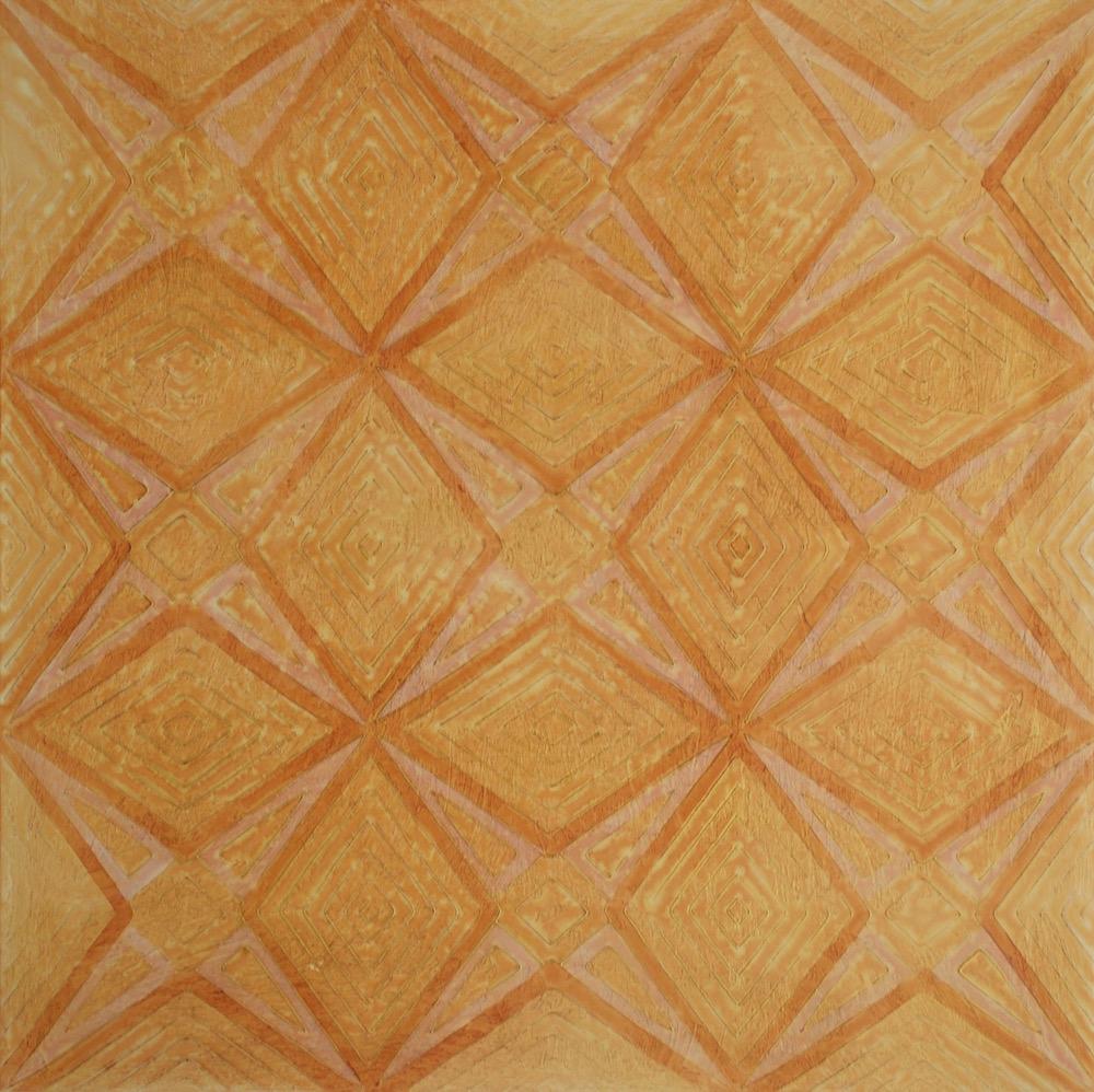 "Saffron's Garden in the Sun # 1 of 2 @ 36"" x 36"" x 2"" Acrylic & oil on archival board"