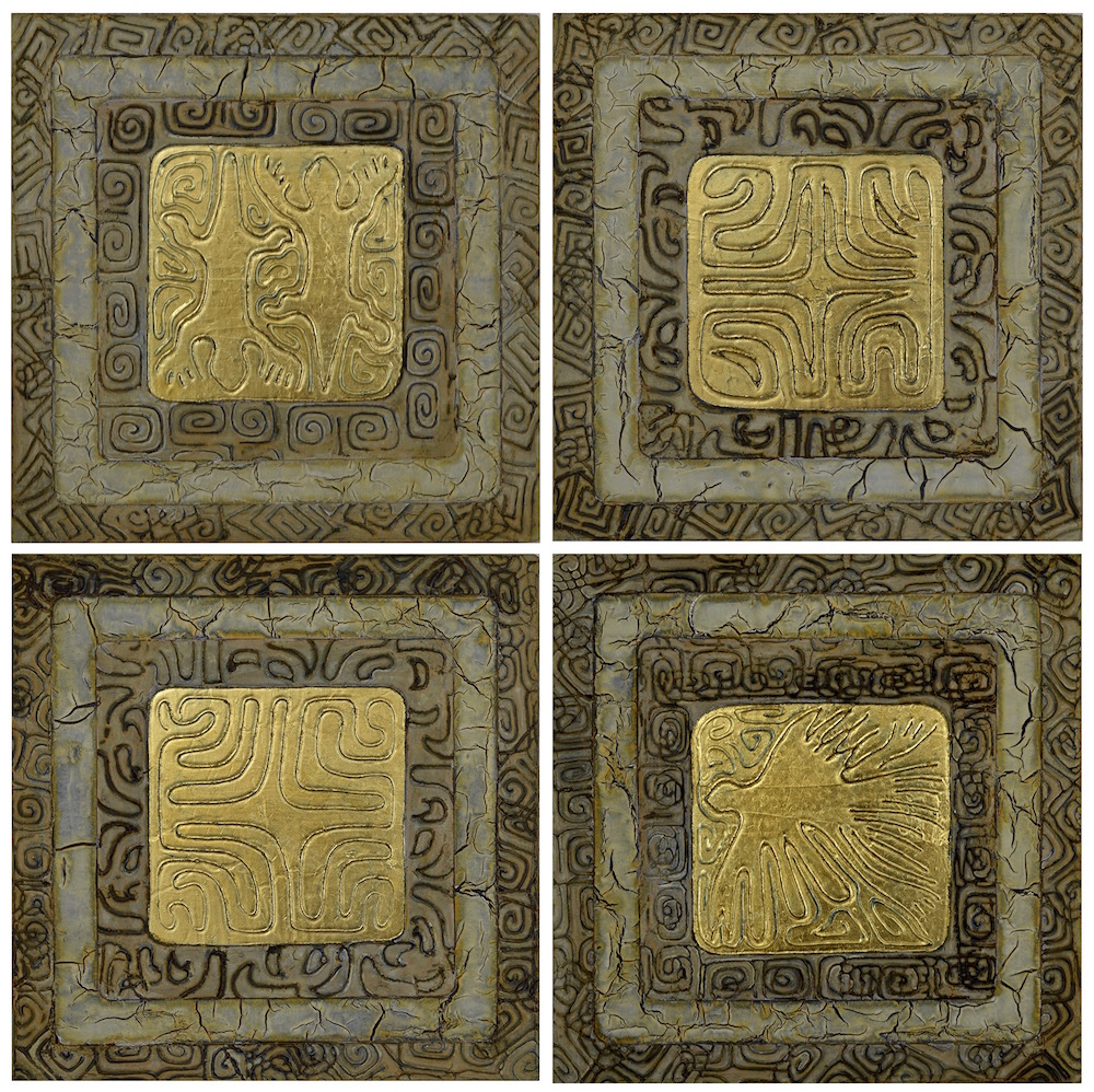 "Maui Gold 1 - 4 @ 12"" x 12"" x 2"" Acrylic, oil & 23K gold leaf on archival board"