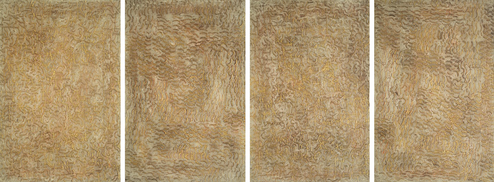 "Orange Bark 1 - 4 @ 12"" x 18"" x 2"" Acrylic & oil on archival board"