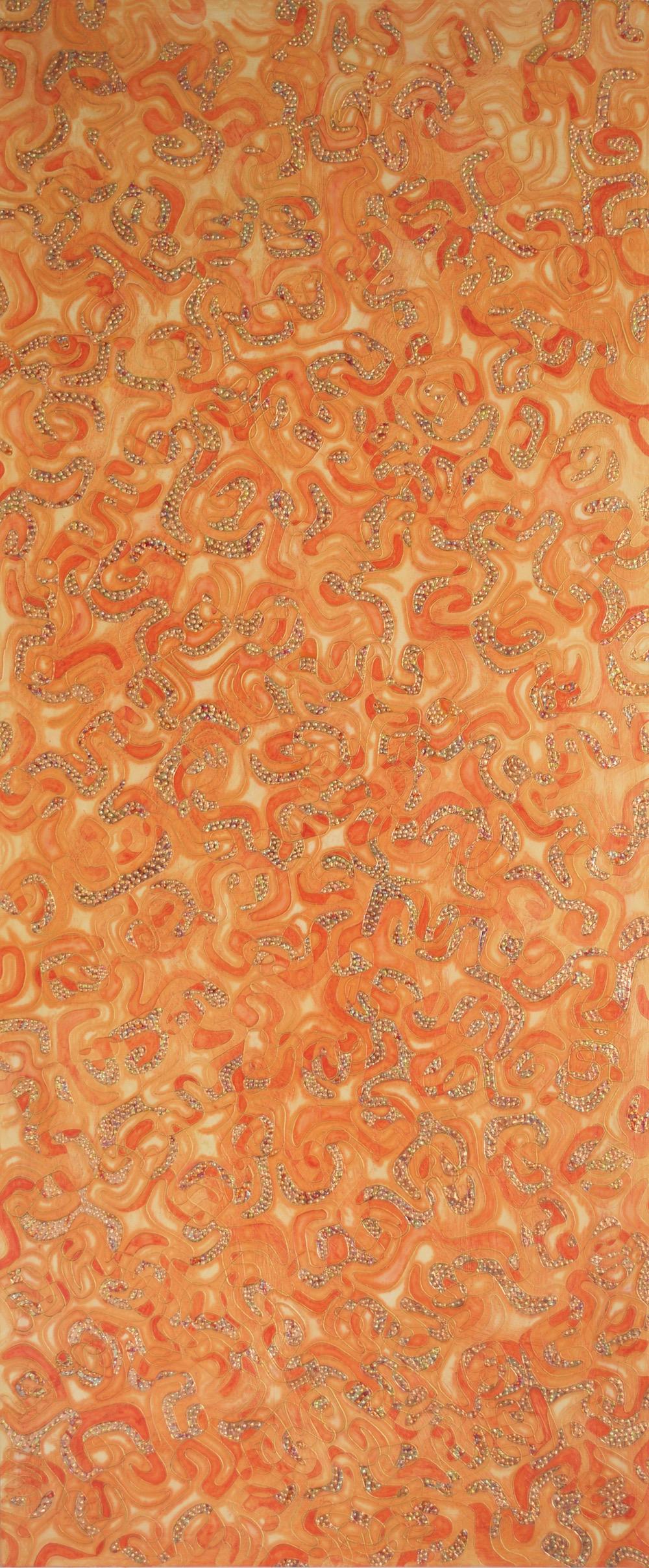 "Cream Tangerine 72"" x 30"" x 2"" Acrylic, oil & gold leaf on archival board"