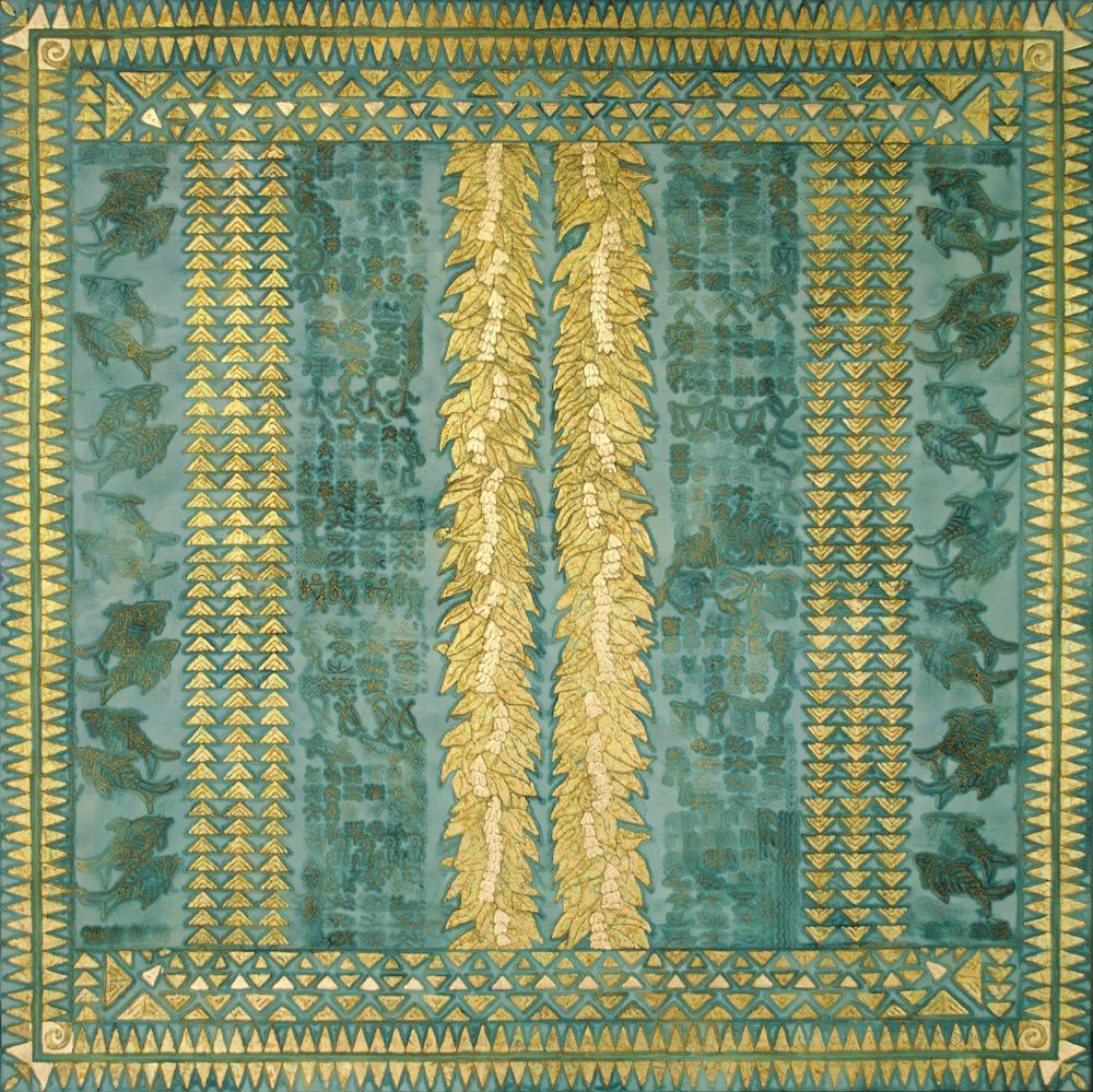 "Wai Lani (ocean sky) 60"" x 60"" x 2"" Acrylic, oil & gold leaf on archival board"