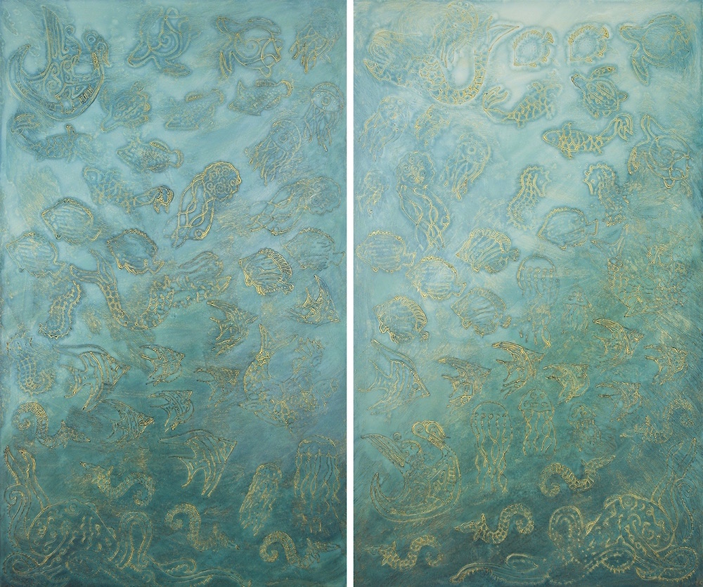 "The Secret Life of Uluweuweu Bay 1 & 2 @ 25⅞"" W x 42⅞"" H Acrylic & oil on archival board"