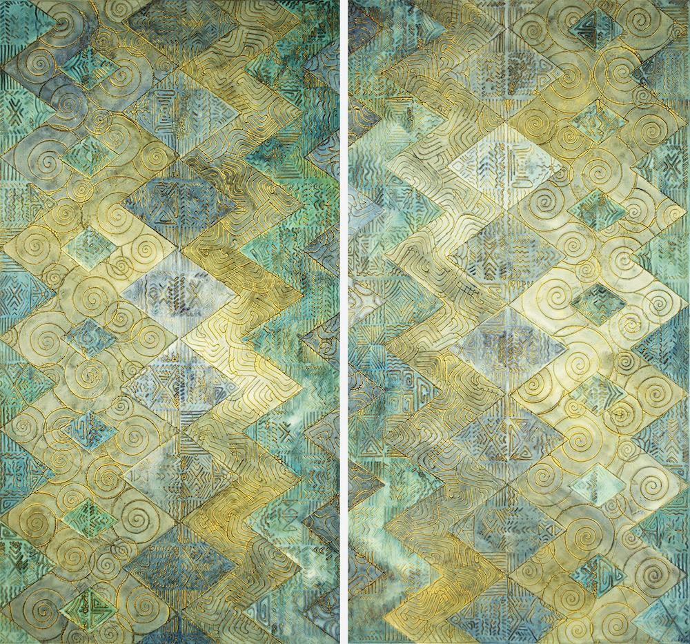 """Like Water 1 & 2 @ 23¼"""" W x 42⅞"""" H Acrylic & oil on archival board"""