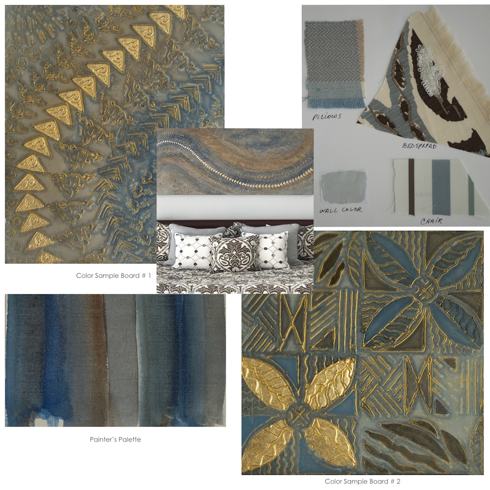 "California Dreaming' 64"" x 32"" x 2"" & Driftwood Blues Tapa 36"" x 48"" x 2"" master bedroom - fabric swatches & color sample boards to determine direction."