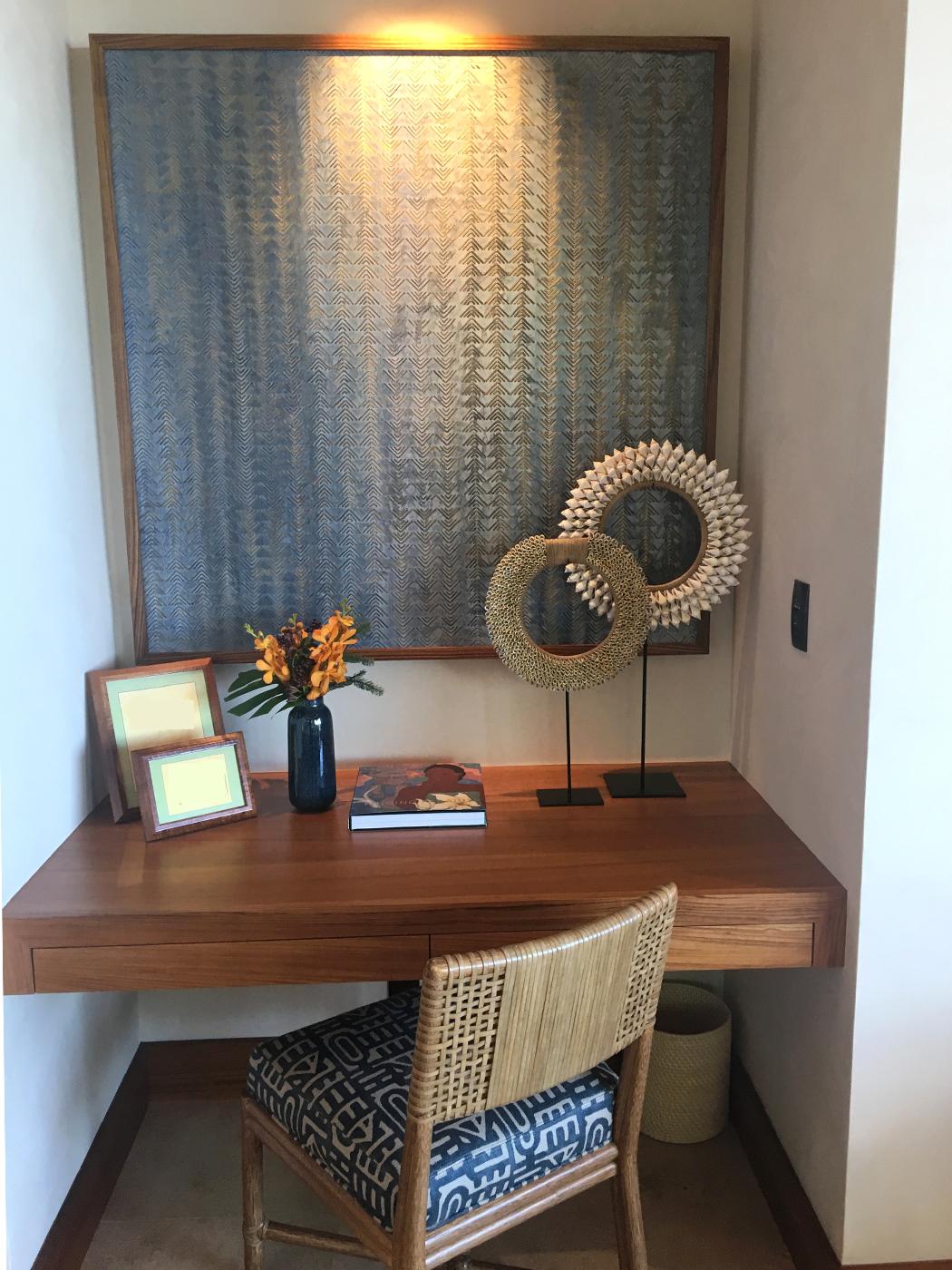 Bedroom above - writing alcove - Kūki'o Blues framed in teak.