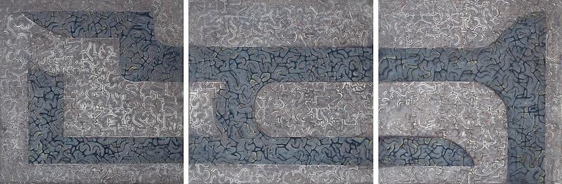 """Silver Linings 1 - 3 @ 10"""" x 10"""" x 2"""" Acrylic & oil on archival board"""