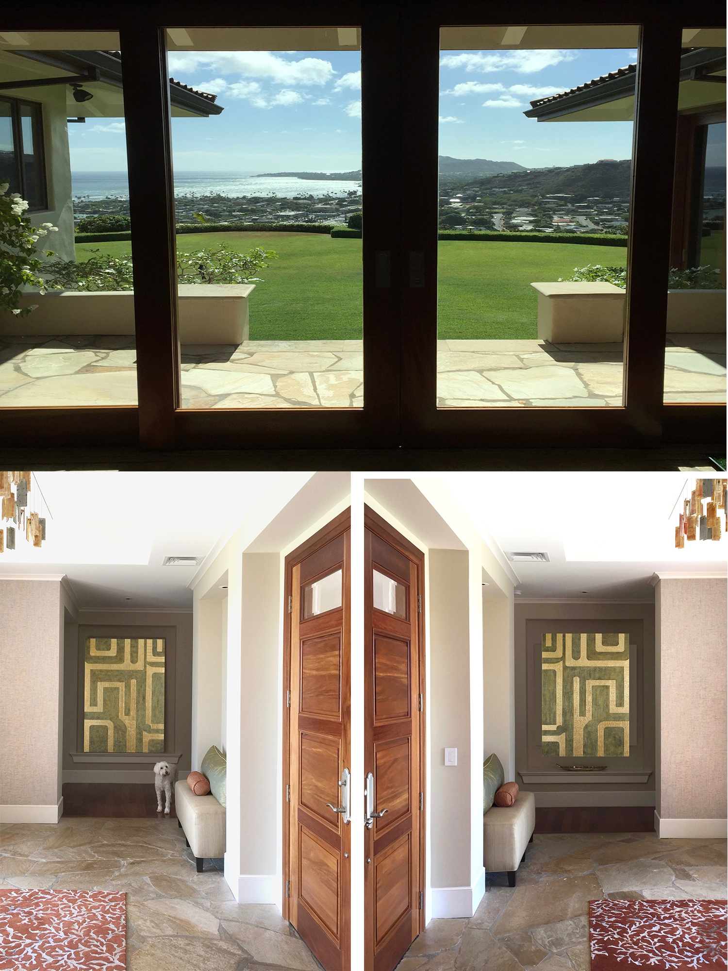 Kaimana-Hila 1 (left) & 2 (right) flank the entry foyer in this beautiful home, directly across from Diamond Head.