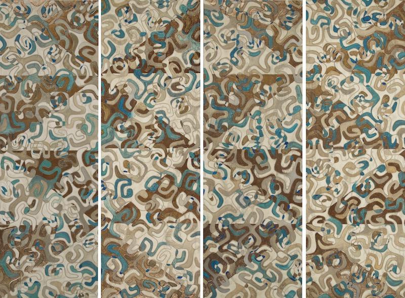 "Huila Makani (pinwheel) Tapa 1 - 4 @ 15½"" x 46½ Acrylic, oil & Chocolate gold leaf on archival board"