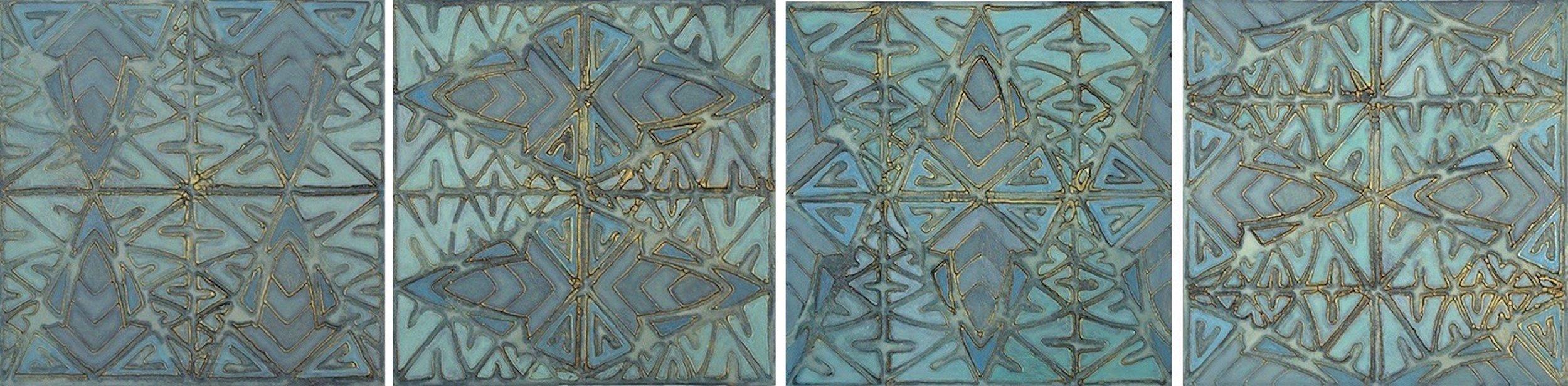 "Tribal Blues 1 - 4 @ 12"" x 12"" x 2"" Acrylic & oil on archival board"