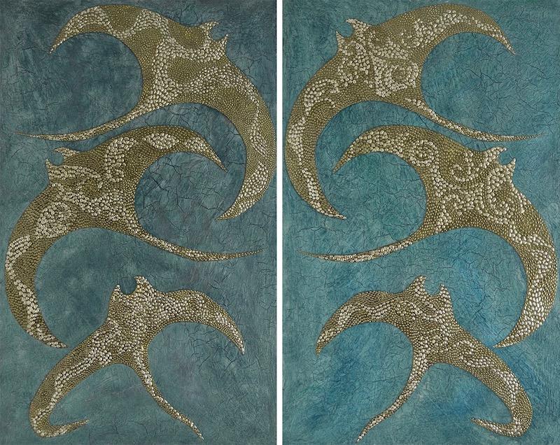 "Chips's Ohana 1 & 2 @ 30"" x 48"" x 2"" Acrylic, oil & green/blue gold leaf on archival board"