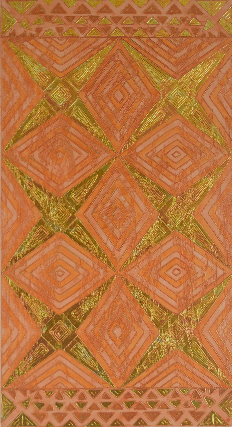 "Coral Star Tapa # 3 of 3 @ 24"" x 44"" x 2"" Acrylic, oil & coral gold leaf on archival board"