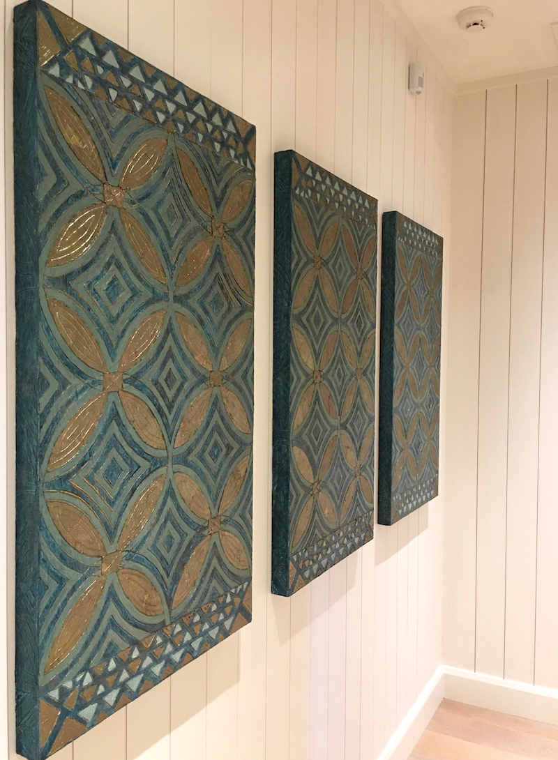 South Hallway - Kukio - Sea Grass Tapa 1 - 3 - triptych on multiples page.