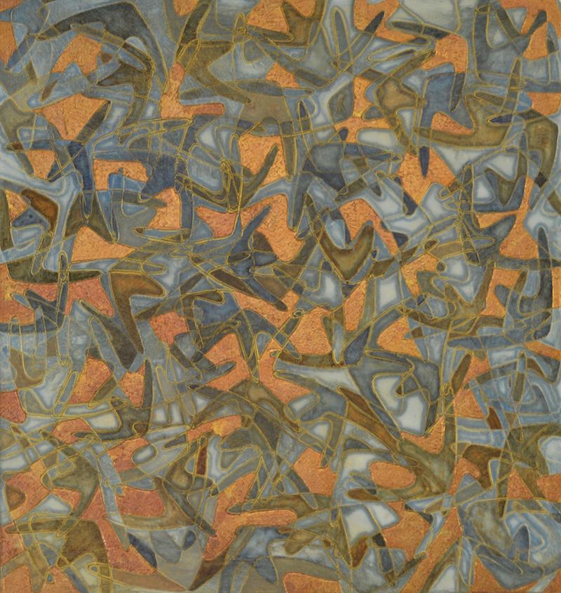 """Wild Blue Yonder 35"""" x 37"""" x 2"""" Acrylic, oil & 23k gold leaf"""