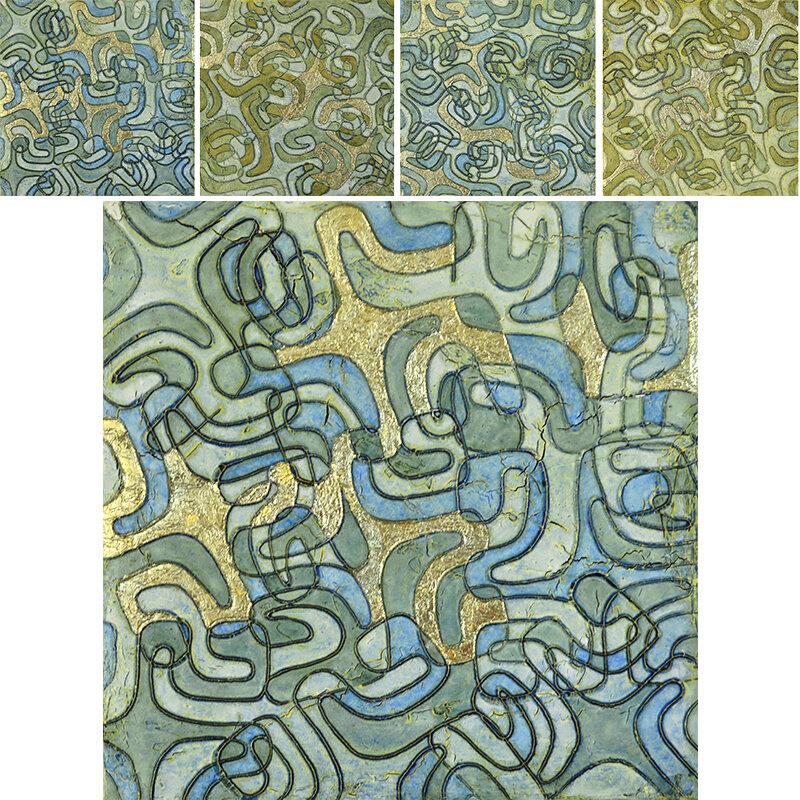 "Where Blue Meets Green 1 - 4 @ 14"" x 14"" x 2"" Acrylic, oil & 23k green/blue gold leaf - detail # 1 of 4 below."