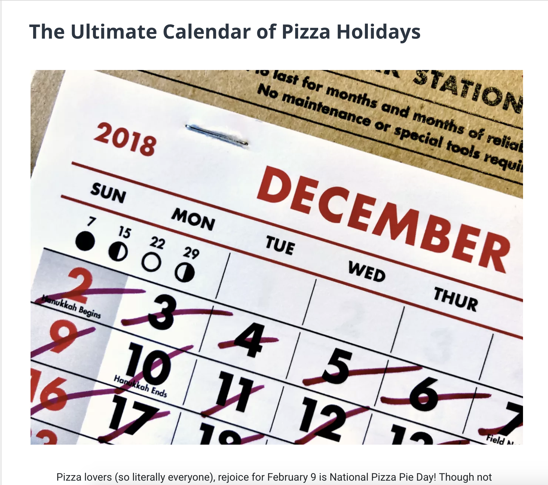 The Ultimate Calendar of Pizza Holidays