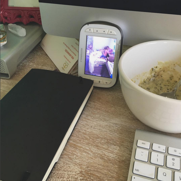 """(Here's a snapshot from yesterday's """"naptime"""" while I was about to hop on 2 hours of client calls...non-sleeping child + shoveling in reheated soup ala my mom = making it work)."""