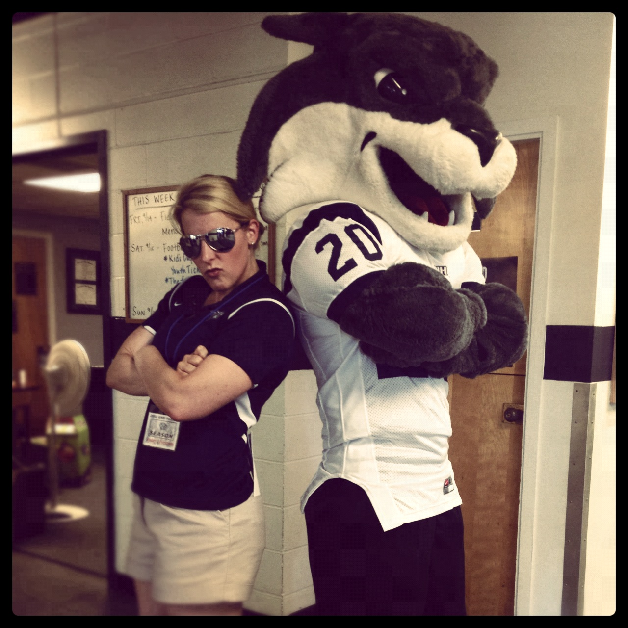 Me & mascot Gnarlz outside my office on football game day!