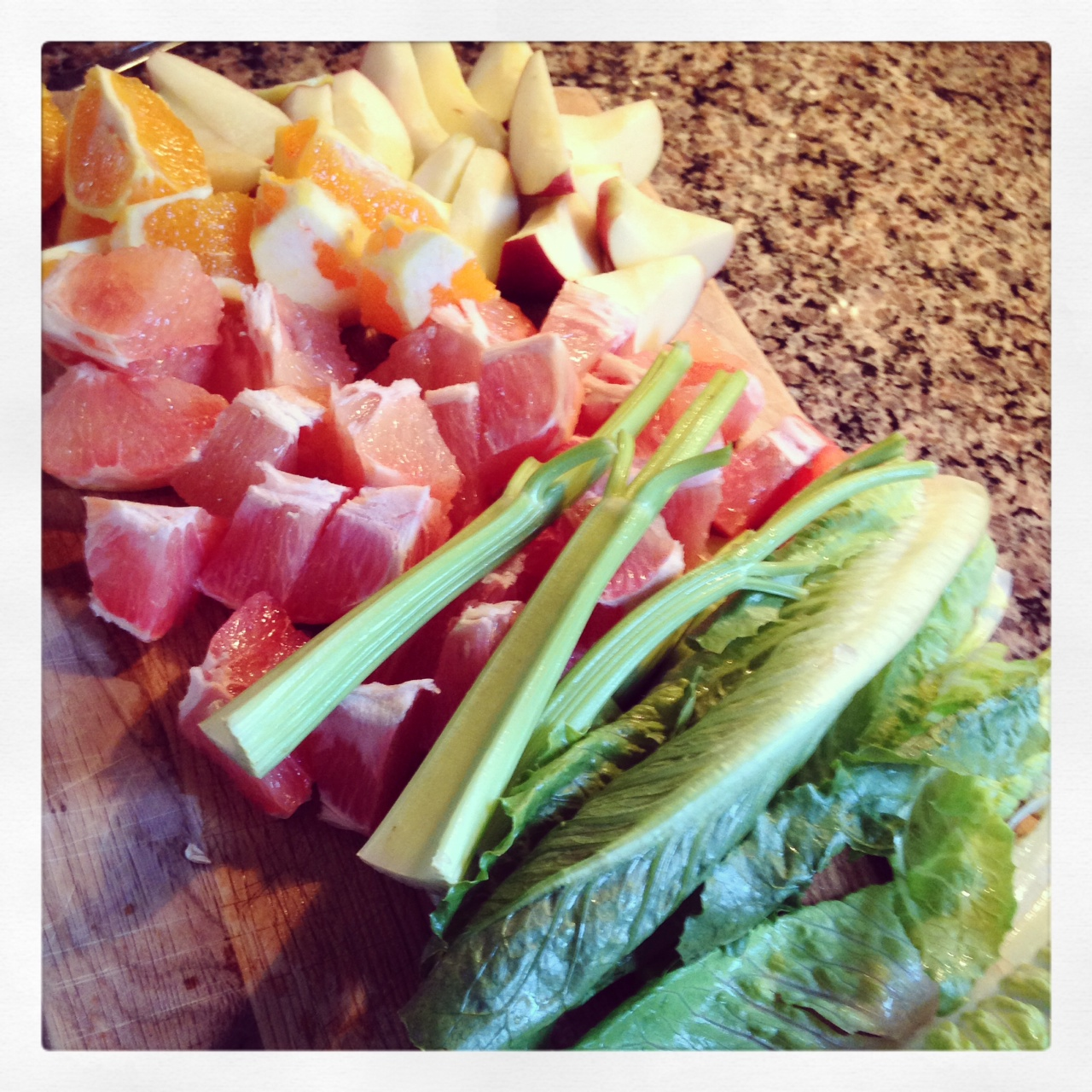 My first morning juice: apple, grapefruit,  orange, celery and romaine.
