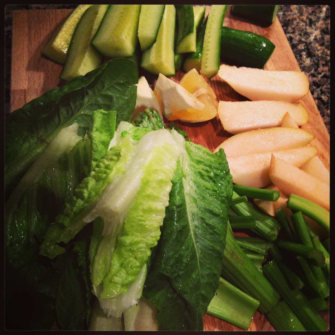 Evening green juice on Tuesday: cucumber, celery, romaine, lemon and pear.