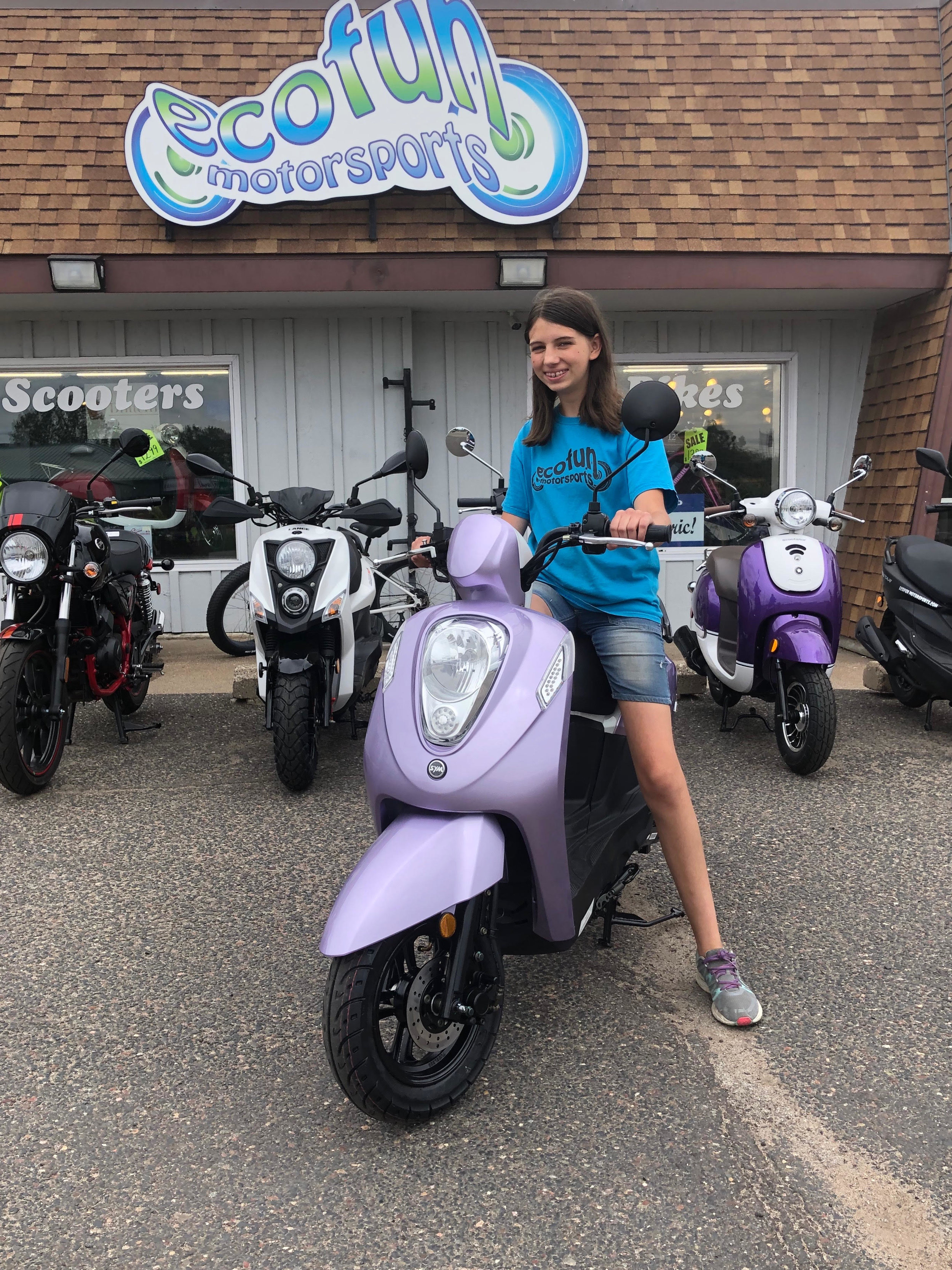 Kalyn - Sales - Kalyn is a Sales Associate who specializes in ebikes! Her favorite scooter is the Purple SYM Mio. On her free time she loves to ride her own Bintelli Beach Bike and plays volleyball for her high school.