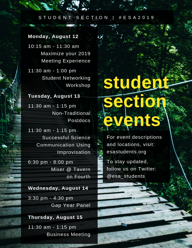 Student Section Events, ESA2019
