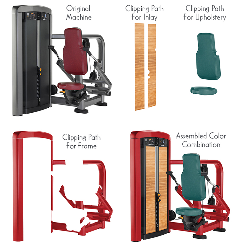 - Project for Life Fitness equipment.Life Fitness wanted clients to be able to see every possible color combination of their equipment for custom orders. Clients can go to the Life Fitness web site, click on their choice of machine and apply the colors to the frame(s) and upholstery to see the fully assembled combination of colors. My job was to create clipping paths and apply colors and textures so they looked realistic.For machines with two frames, I had to assess the machine and determine which was Frame 1 and which was Frame 2.From there I would create the clipping paths and apply the colors.