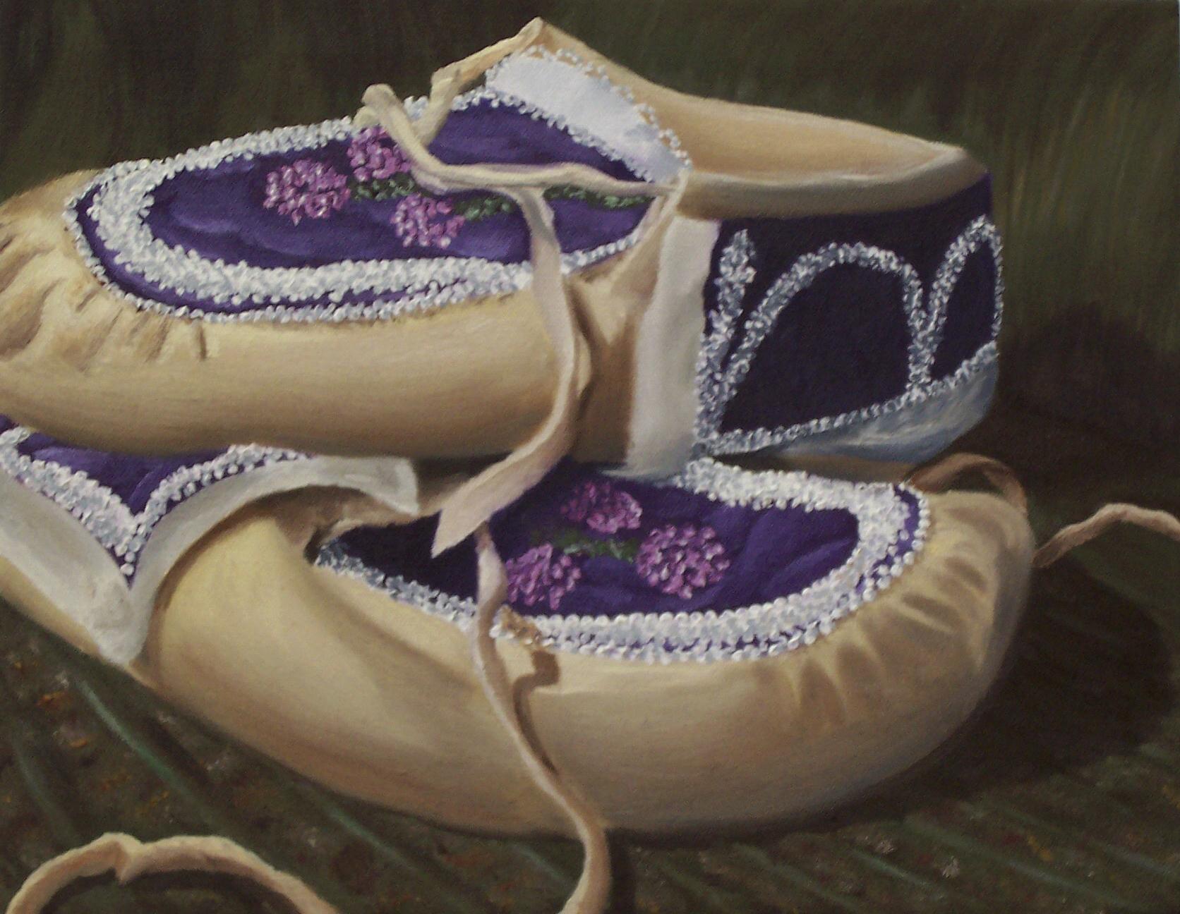 Grandma's Moccasins, Oil on canvas, 11''x14'', 2006