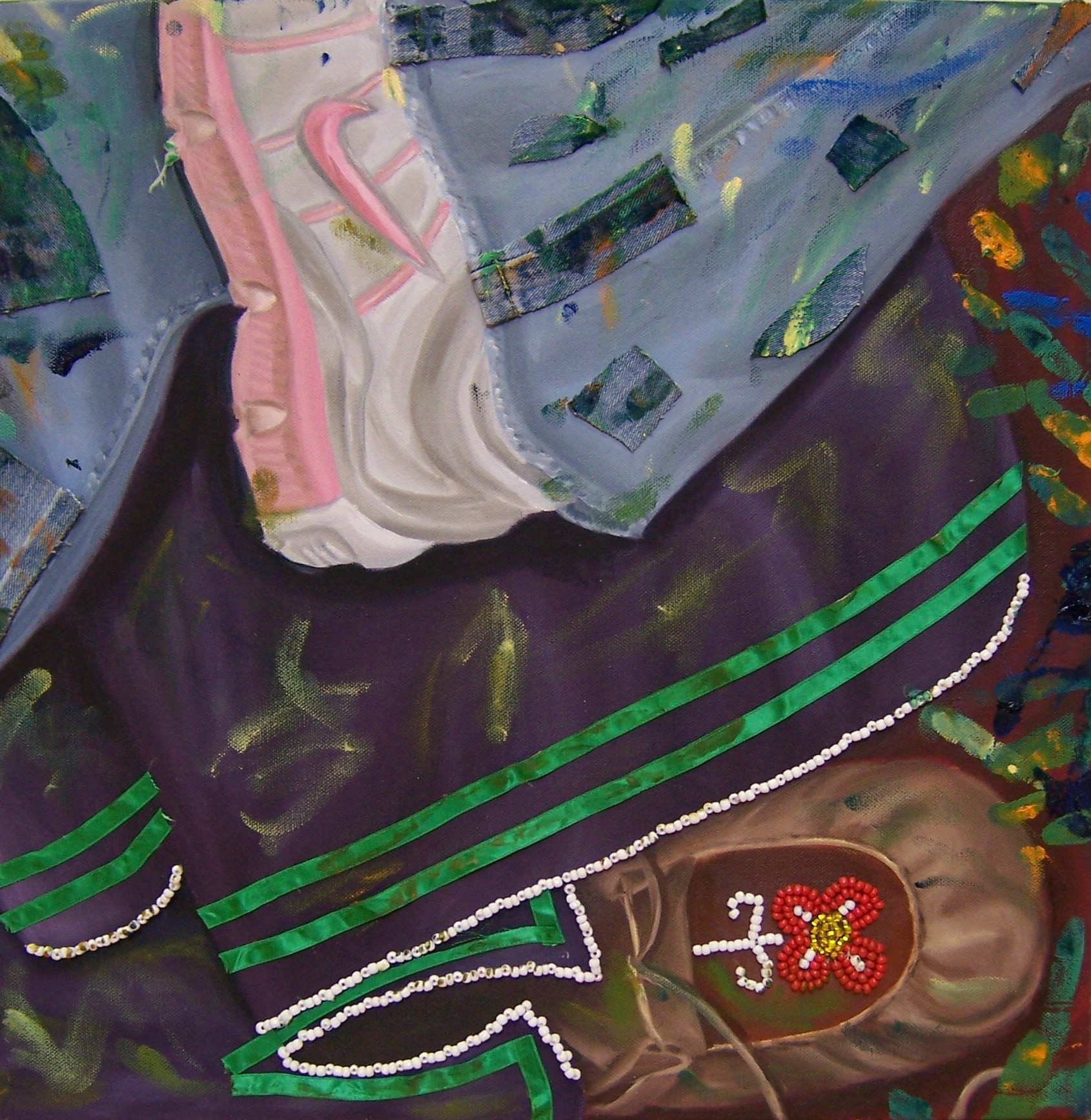 Dancing in Two Worlds, Oil on canvas and mixed media, 18''x18'', 2007