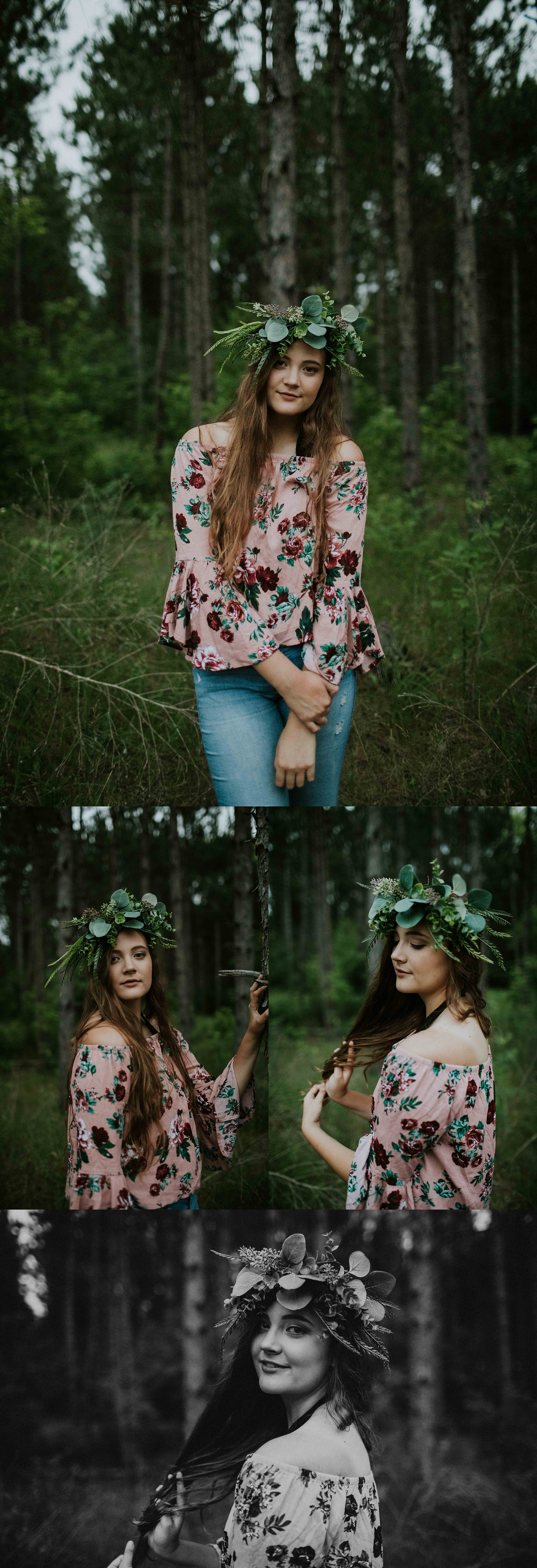 floral crown Senior Session Wisconsin Senior Photographer Wisconsin Rapids Madison Chloe Ann Photography