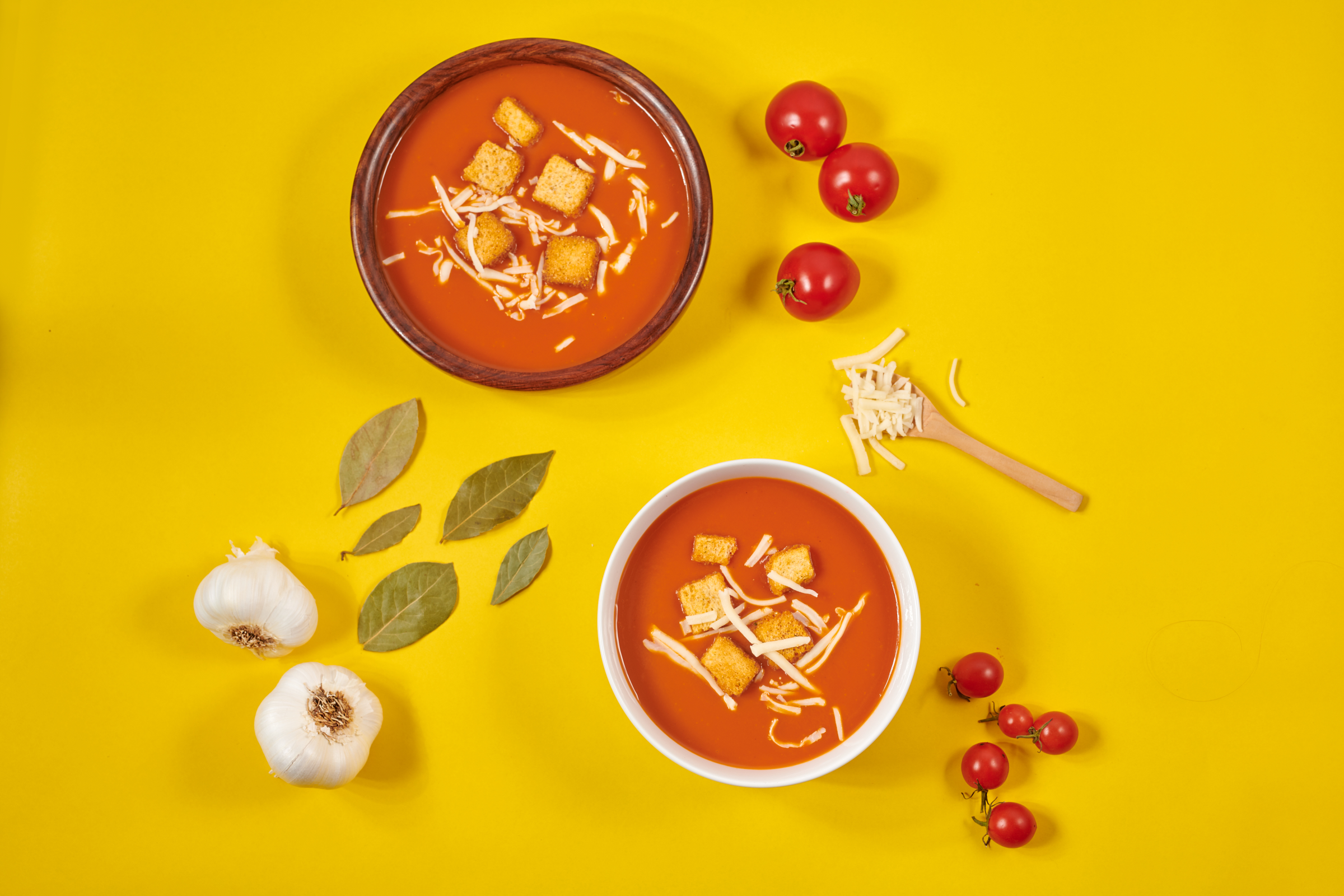Tomato Soup - Garnished with jack cheese and croutons