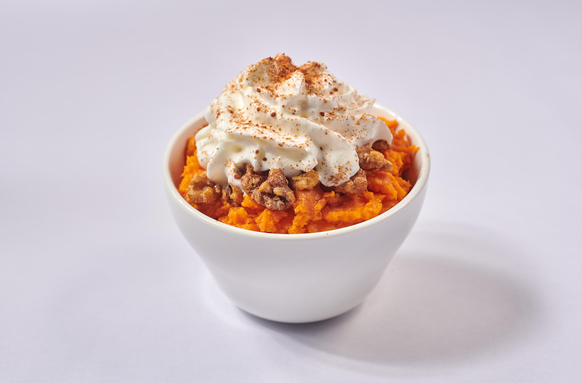 Sweet Sweet Potato - $4.95 - Sweet Potato, whipped cream, coconut sugar, candied walnut, cinnamon - GLUTEN-FREE