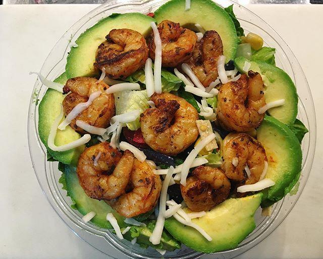 Fiesta Salad with Avocado and grilled Shrimp. #hotspudsf #glutenfreesf #sfglutenfree #sfhotspud #hotspud #fishermanswharfsf #salad #foodporn #everydaysalad #westfieldsfcentre #westfieldsf