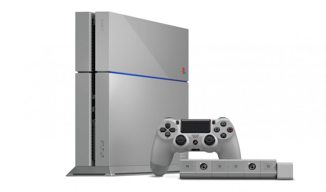 The 20th Anniversary PlayStation 4 console, pictured here, is a beautiful take on the original PlayStation (PSOne) hardware's grey design with a multicolored PlayStation logo. The $499.99 package included a custom DualShock 4, PlayStation Eye camera, and a vertical stand—all in the grey design.