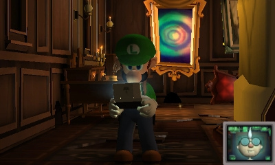 "Luigi on his ""Dual Screen"" or ""DS"" device, getting a call from Professor E. Gadd in  Luigi's Mansion: Dark Moon ."