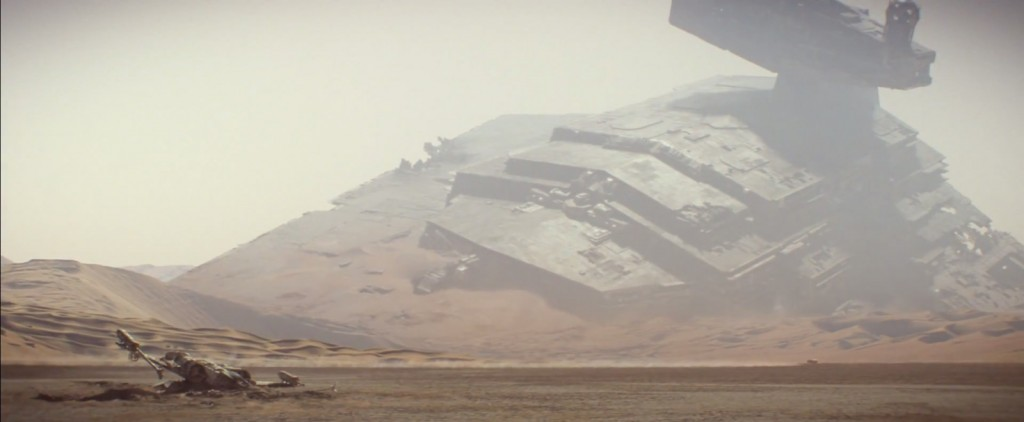 The opening of the trailer shows a crashed Imperial Star Destroyer and an X-Wing on a desert planet, presumably Tatooine.