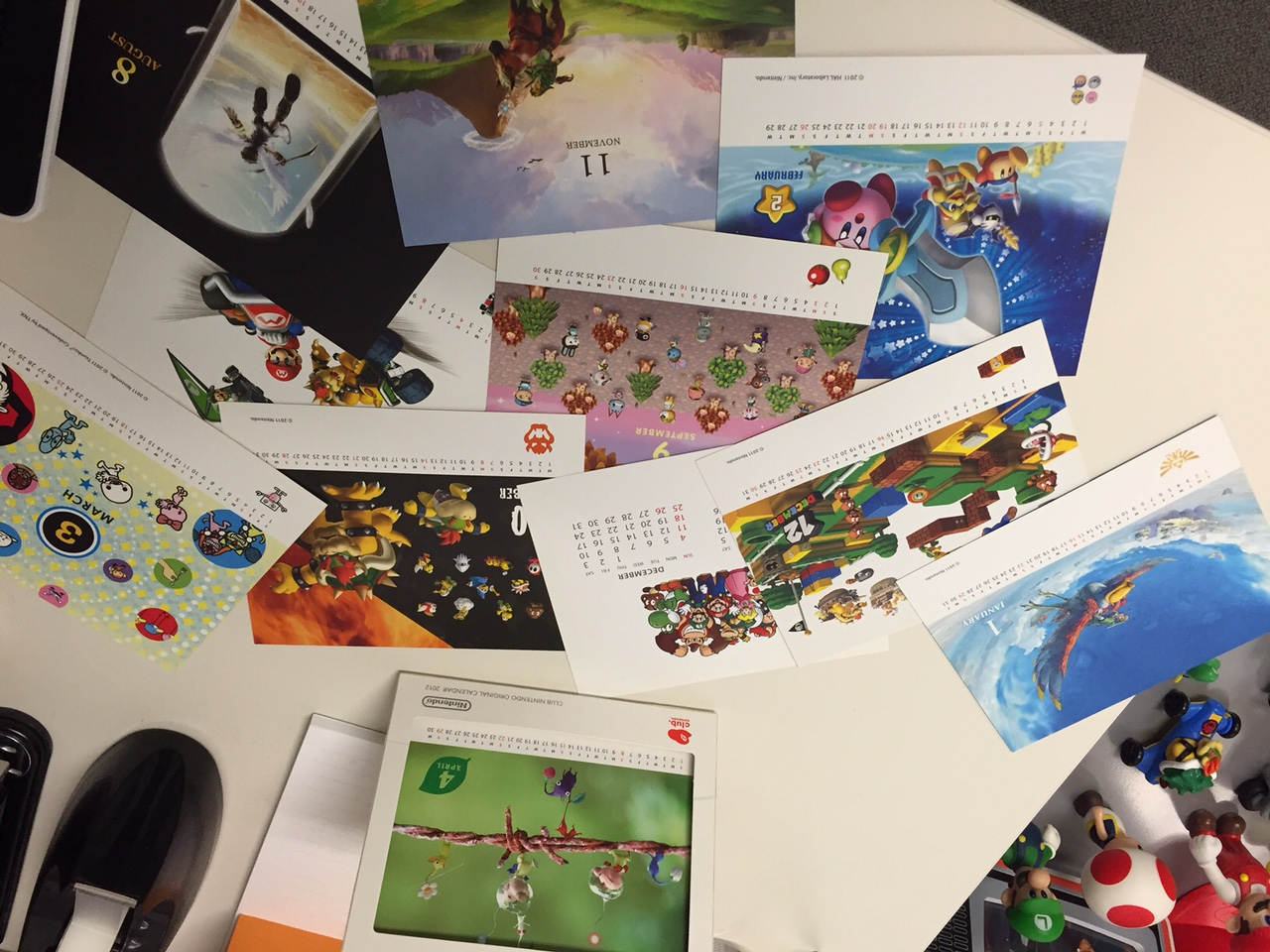 A really cool Club Nintendo desk calendar from 2012 that I still display at work. The dates are wrong, but I love the artwork.