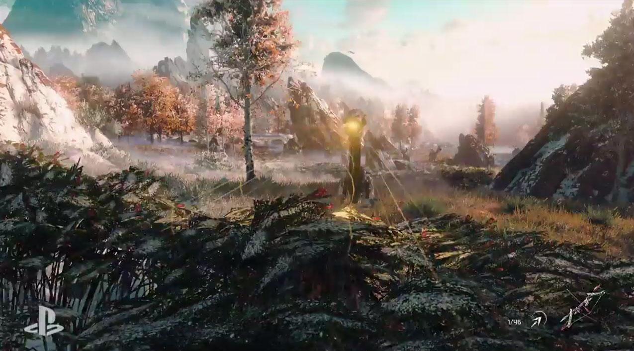 A little scout robot scans foliage as Aloy hides.