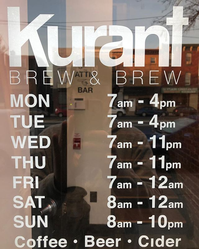 We are excited Coffee starts at 7am all week and 8am on the weekends @kurantbrewandbrew COFFEE, BEER, CIDER ALL DAY!
