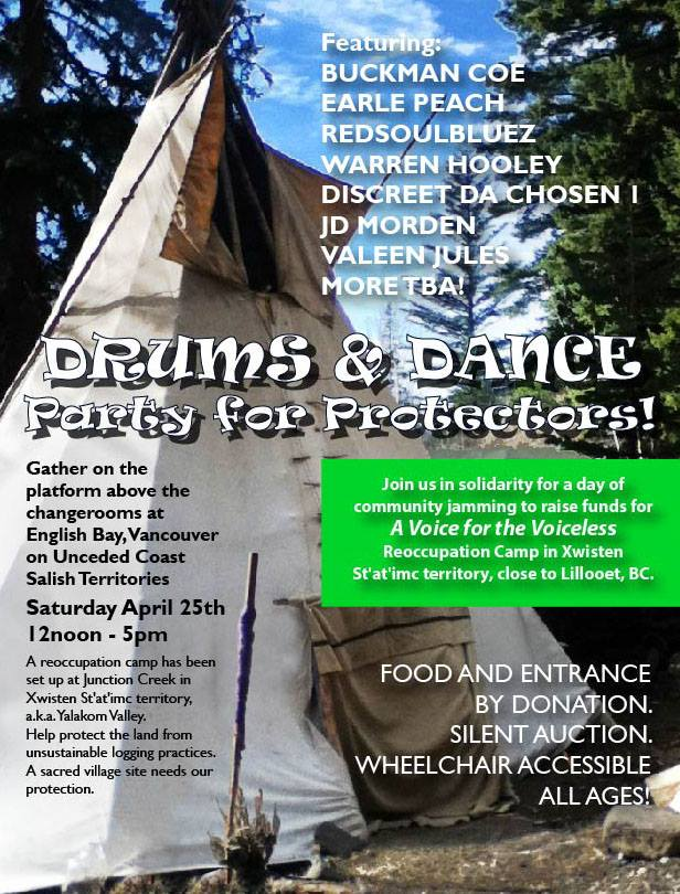 This Saturday come support the First Nation reoccupation camp protecting Xwisten St'at'imc territory from unsustainable logging practices. Drums & Dance Party for Protectors at English Bay noon-5pm. This will be an amazing day of resilience and resistance.   https://www.facebook.com/events/1712019419025047/