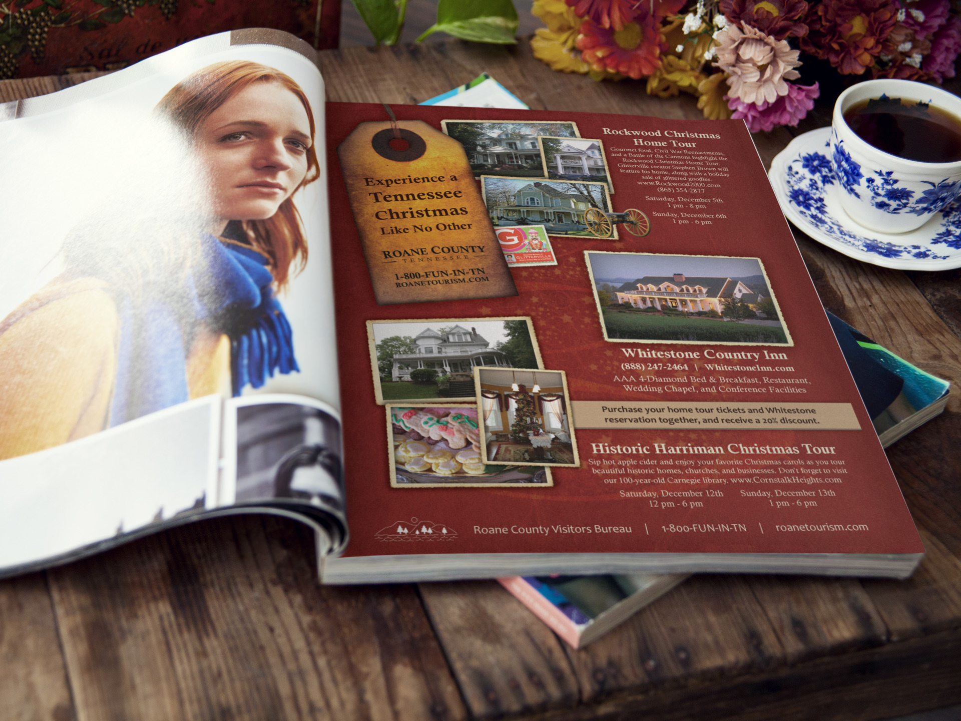 Roane County Visitors Bureau Holiday Ad Campaign    This campaign was produced for Southern Living Magazine    Services provided: Creative Direction, Copywriting, Design