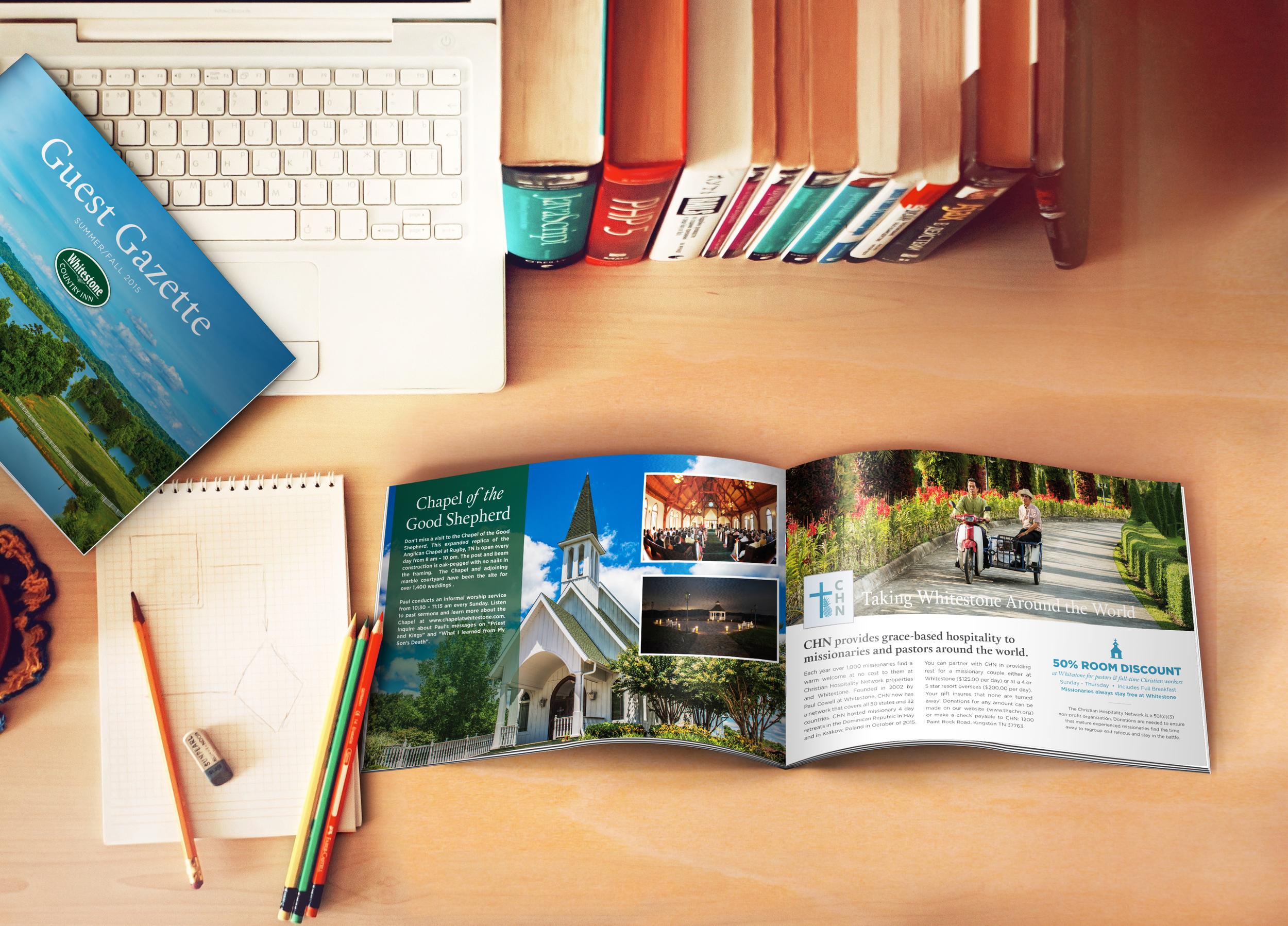 Whitestone Inn Guest Gazette    Services provided: Art Direction, Print Design, Photo Editing