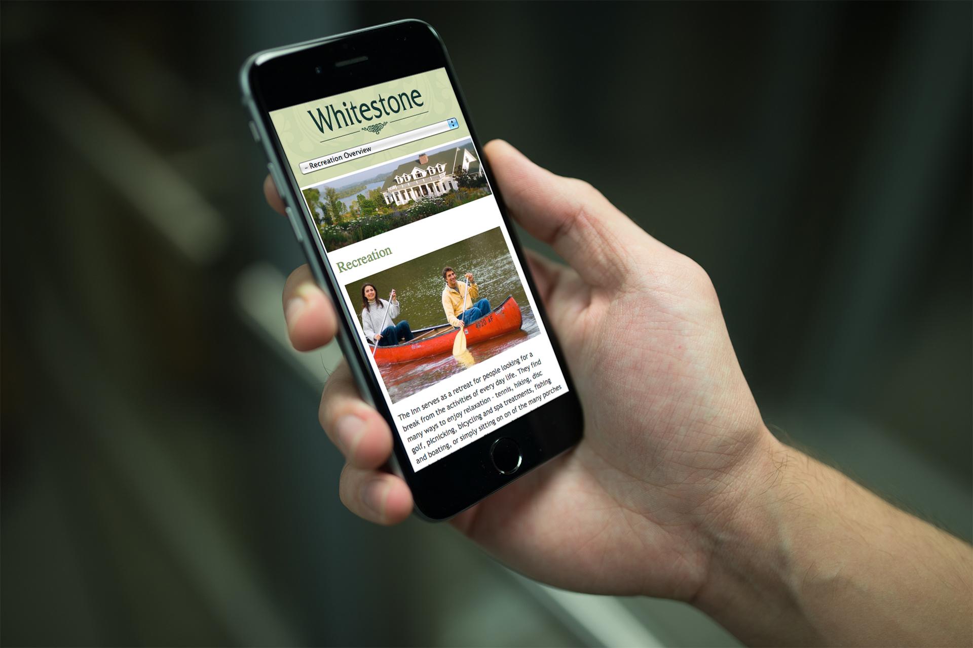 Whitestone Inn Mobile Site    Services provided: Responsive retrofit of existing site,UI/UX Design, Frontend Development    Visit Site