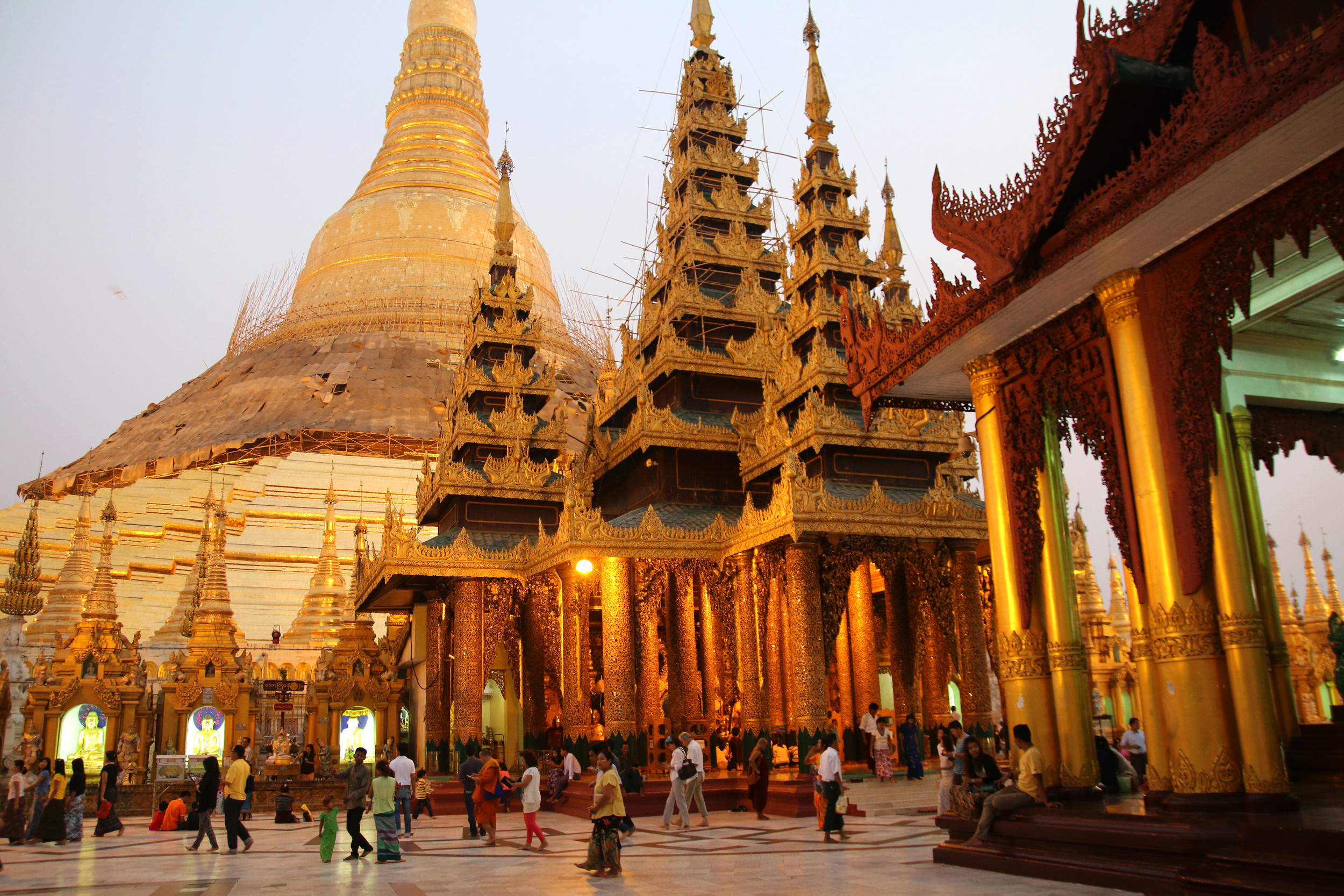 Shwedagon Pagoda in Yangon, Myanmar, is the most famous Buddhist temple in the country.